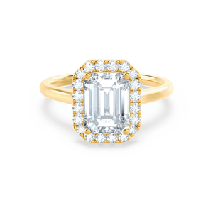 Lily Arkwright Engagement Ring EVALINA - Charles & Colvard Moissanite & Diamond Emerald Cut 18k Yellow Halo
