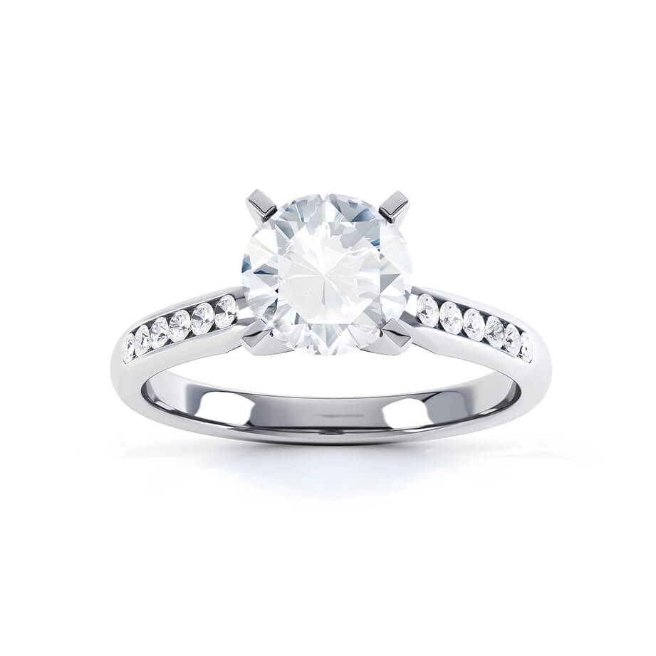 Evangelina Charles & Colvard Moissanite 18k White Gold Channel Set Ring