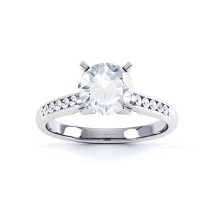 EVANGELINA - Round Moissanite 18k White Gold Channel Set Ring Engagement Ring Lily Arkwright
