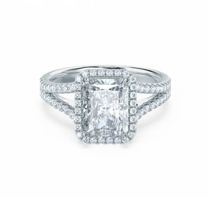 EVERLY - Radiant Moissanite & Diamond 18k White Gold Split Shank Halo Ring Engagement Ring Lily Arkwright