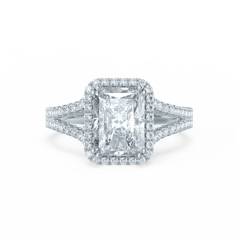 EVERLY - Charles & Colvard Moissanite & Diamond 18k White Gold Split Shank Halo