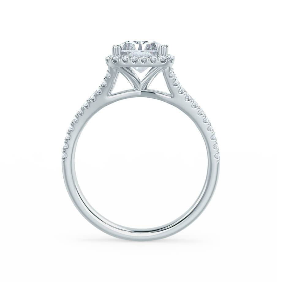 EVERLY - Charles & Colvard Moissanite & Diamond Platinum Split Shank Halo Ring