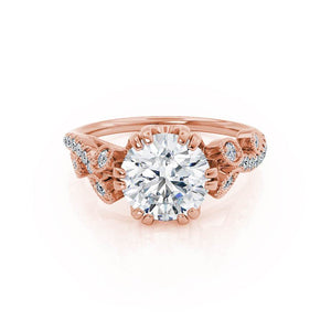 FLEUR - Round Moissanite & Diamond 18k Rose Gold Shoulder Set Ring Engagement Ring Lily Arkwright