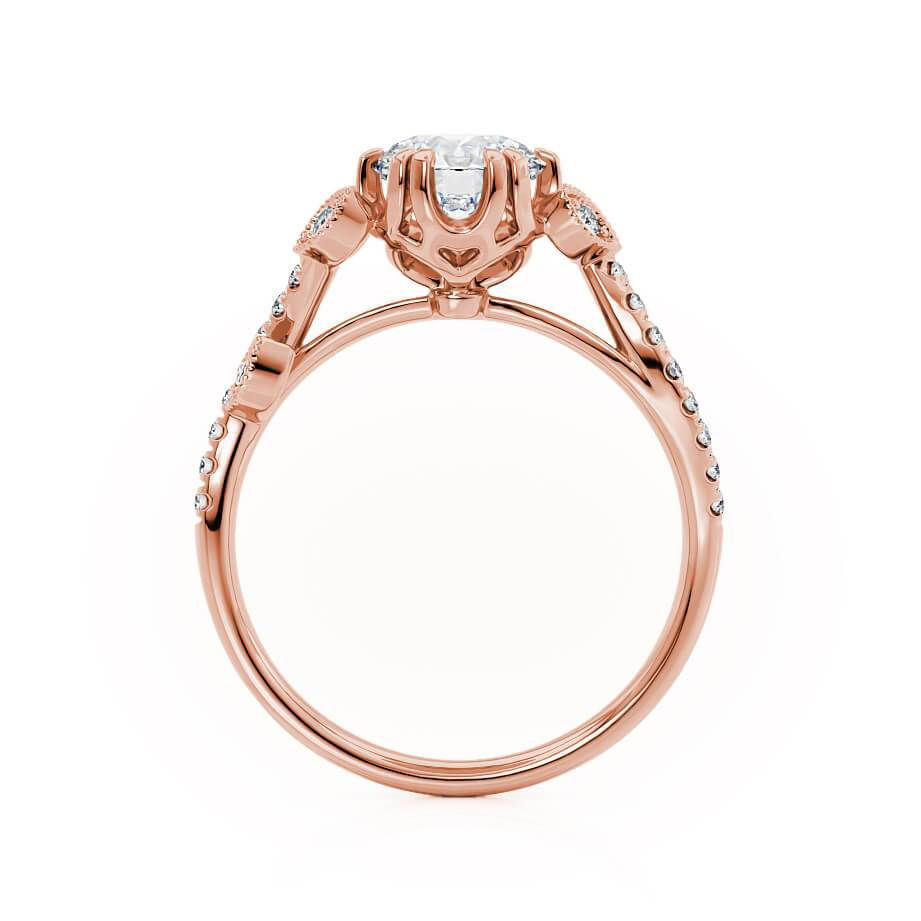 FLEUR - Moissanite 18k Rose Gold Shoulder Set Ring