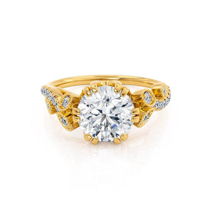 FLEUR - Round Moissanite & Diamond 18k Yellow Gold Shoulder Set Ring Engagement Ring Lily Arkwright