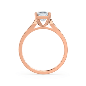 FLORENCE - Emerald Moissanite 18k Rose Gold Solitaire Ring Engagement Ring Lily Arkwright