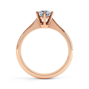 GISELA - Round Moissanite 18k Rose Gold Knife Edge Solitaire Ring Engagement Ring Lily Arkwright