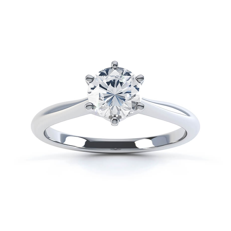 Lily Arkwright Engagement Ring GISELA - Knife Edge Moissanite 9k White Gold Solitaire Ring
