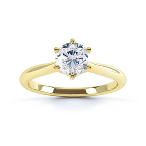GISELA - Knife Edge Moissanite 18k Yellow Gold Solitaire Ring