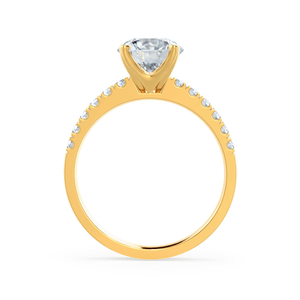 Giselle Charles & Colvard Moissanite & Diamond 18k Yellow Gold Solitaire