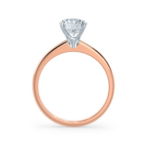 GRACE - Round Moissanite 18K Two Tone Rose Gold Solitaire Ring Engagement Ring Lily Arkwright