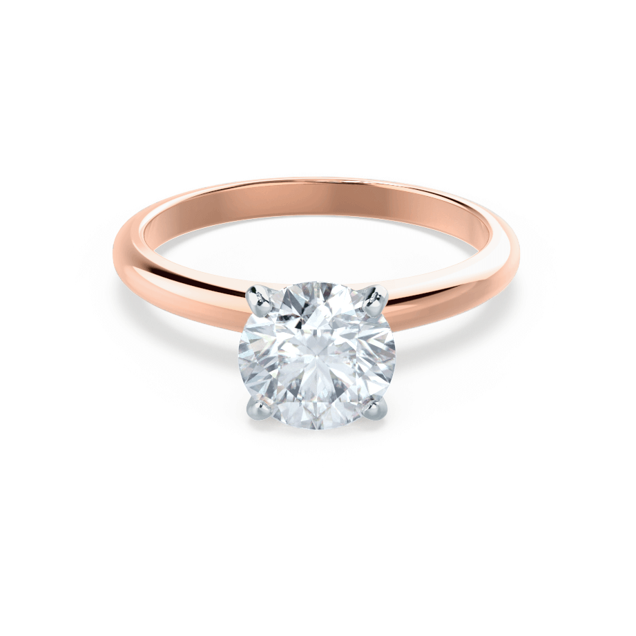GRACE - Moissanite Solitaire 18K Two Tone Rose Gold Ring
