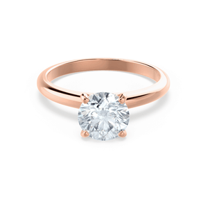 GRACE - Round Moissanite 18k Rose Gold Solitaire Ring Engagement Ring Lily Arkwright