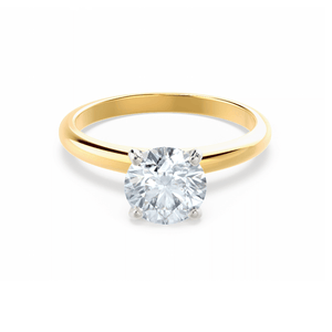 GRACE - Round Moissanite 18K Two Tone Yellow Gold Solitaire Ring Engagement Ring Lily Arkwright