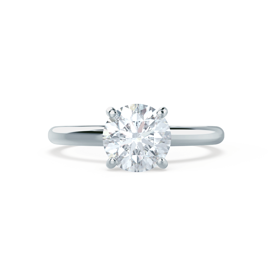 GRACE - Round Moissanite 18k White Gold Solitaire Ring Engagement Ring Lily Arkwright