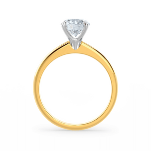 GRACE - Round Moissanite Solitaire Two Tone 18k Yellow Gold Solitaire Ring Engagement Ring Lily Arkwright