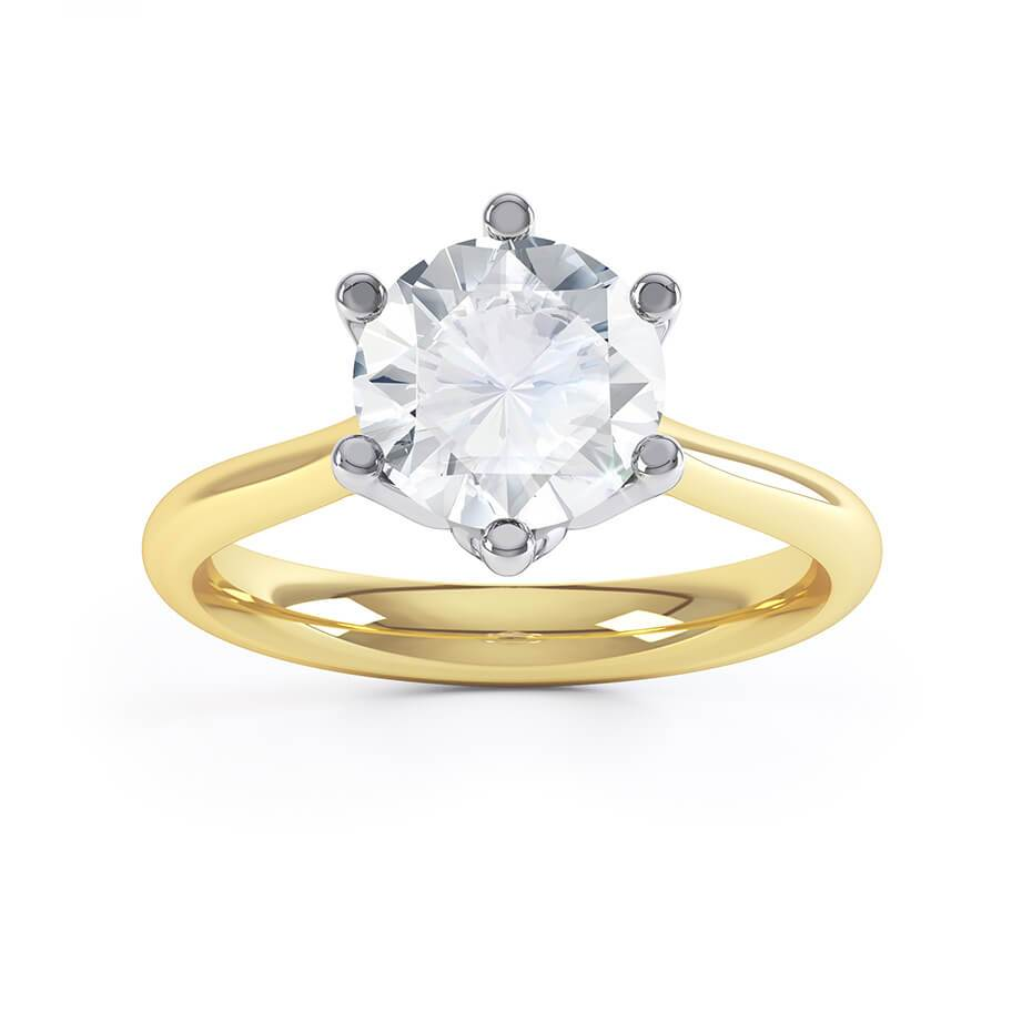 Lily Arkwright Engagement Ring HARMONY - Moissanite 18k Two Tone Gold Solitaire