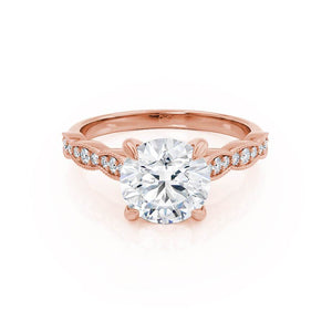 HONOR - Round Moissanite 18k Rose Gold Shoulder Set Ring Engagement Ring Lily Arkwright