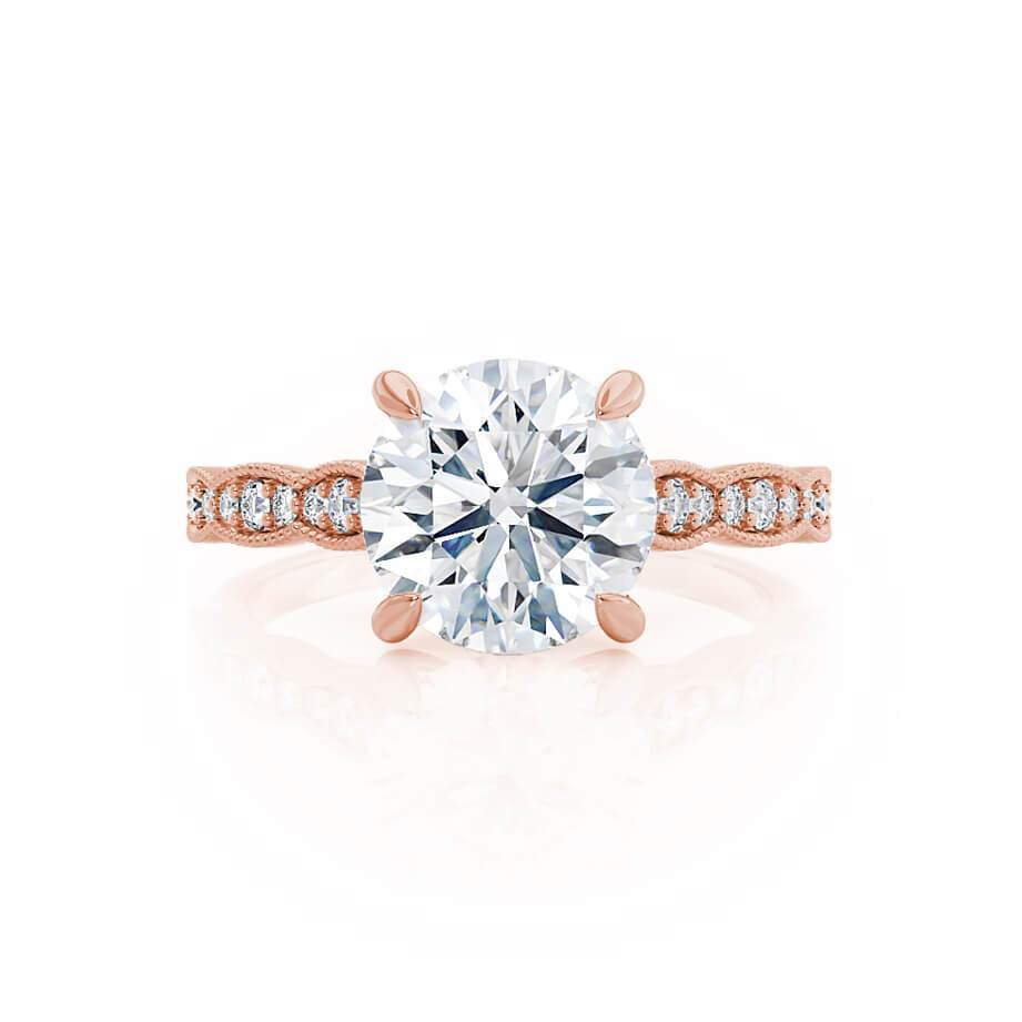 HONOR - Moissanite 18k Rose Gold Shoulder Set Ring