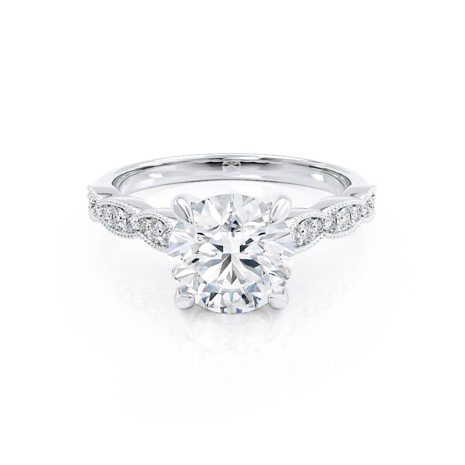 HONOR - Round Moissanite 950 Platinum Shoulder Set Ring Engagement Ring Lily Arkwright