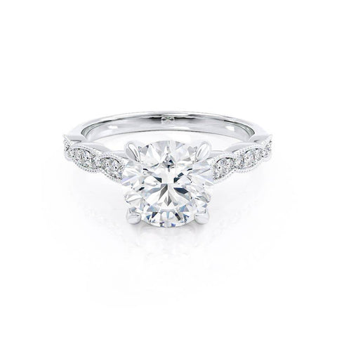 Honor Moissanite 18k White Gold Shoulder Set Ring