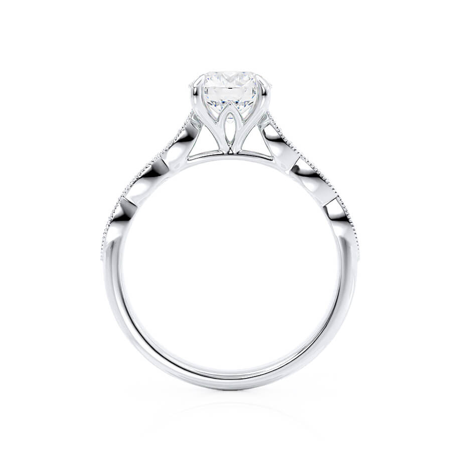 Lily Arkwright Engagement Ring HONOR - Moissanite 18k White Gold Shoulder Set Ring