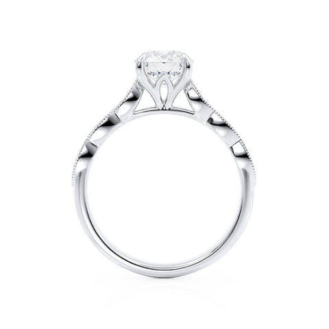 HONOR - Round Moissanite 18k White Gold Shoulder Set Ring Engagement Ring Lily Arkwright