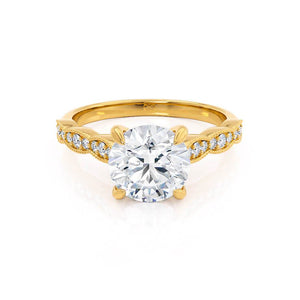 HONOR - Round Moissanite 18k Yellow Gold Shoulder Set Ring Engagement Ring Lily Arkwright