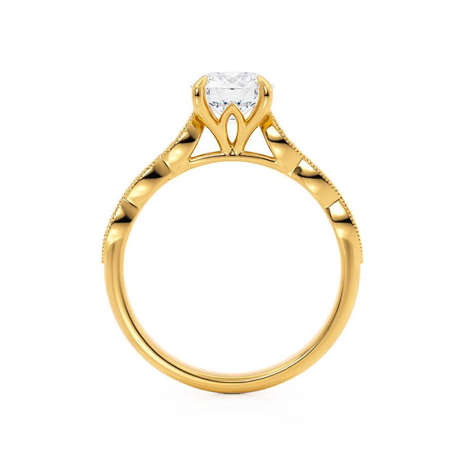 HONOR - Moissanite 18k Yellow Gold Shoulder Set Ring