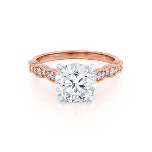 HONOR - Round Moissanite 18k Two Tone Rose Gold Shoulder Set Ring Engagement Ring Lily Arkwright