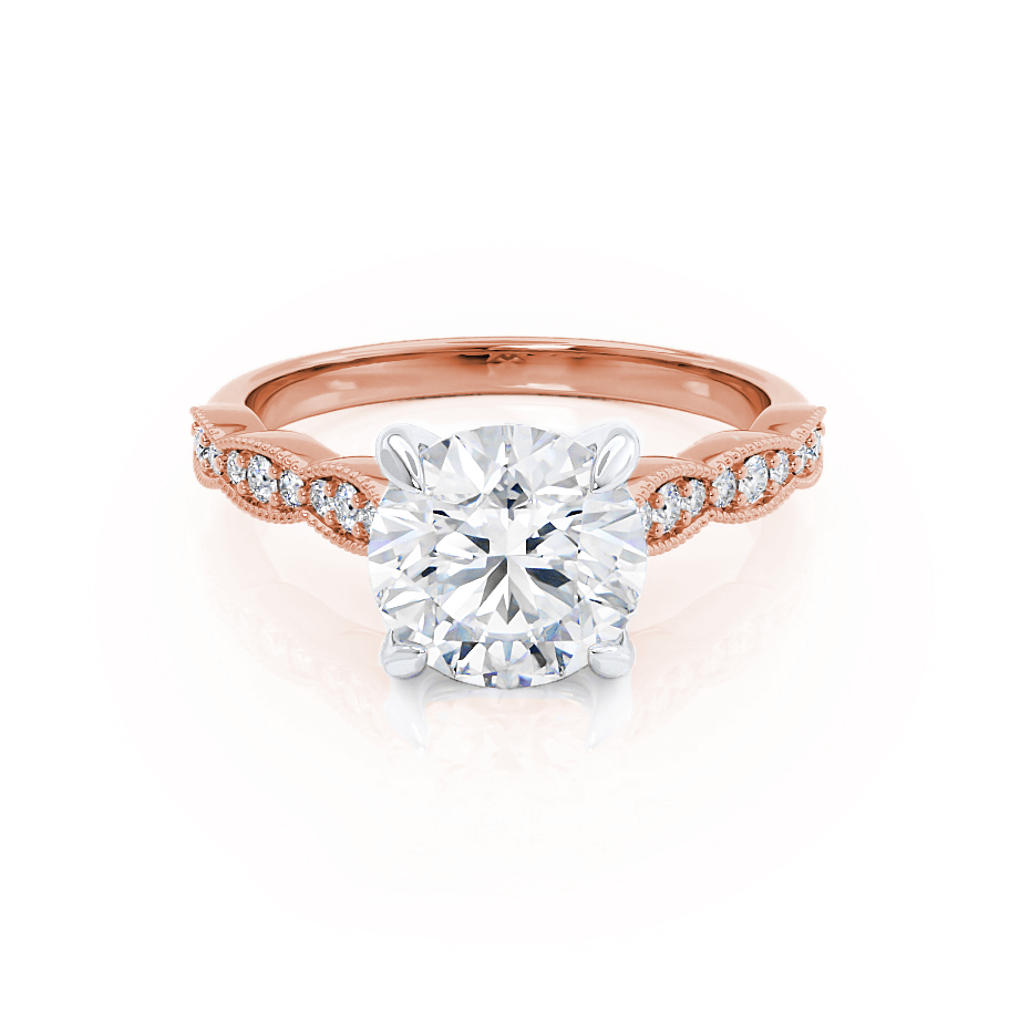 HONOR - Round Moissanite Two Tone 18k Rose Gold & Platinum Shoulder Set Ring Engagement Ring Lily Arkwright
