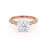Lily Arkwright Engagement Ring HONOR - Moissanite Two Tone 18k Rose Gold & Platinum Shoulder Set Ring