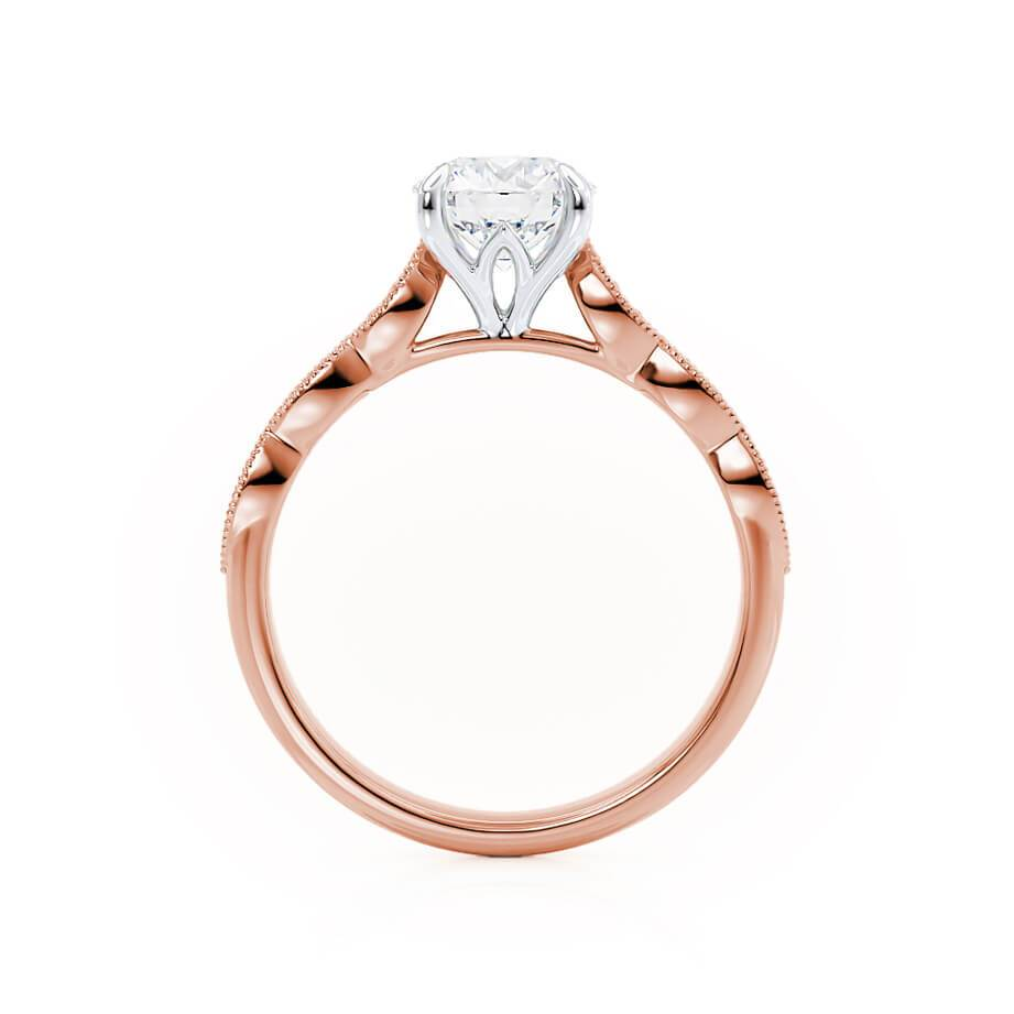 HONOR - Moissanite Two Tone 18k Rose Gold & Platinum Shoulder Set Ring