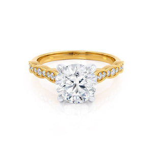 HONOR - Round Moissanite 18k Two Tone Yellow Gold Shoulder Set Ring Engagement Ring Lily Arkwright