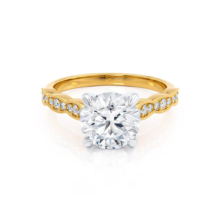 HONOR - Moissanite Two Tone 18k Yellow Gold & Platinum Shoulder Set Ring