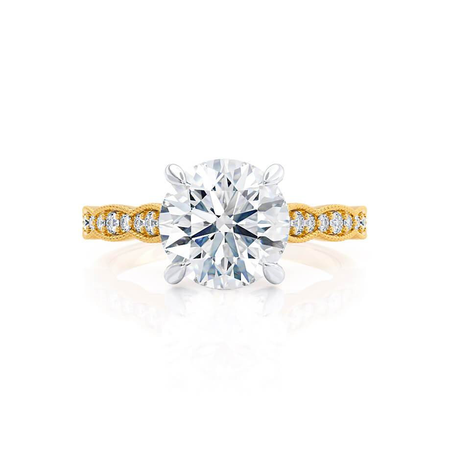 HONOR - Moissanite 18k Two Tone Yellow Gold Shoulder Set Ring