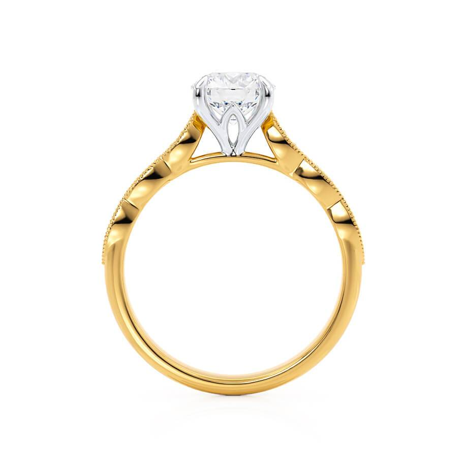 HONOR - Round Moissanite Two Tone 18k Yellow Gold & Platinum Shoulder Set Ring Engagement Ring Lily Arkwright