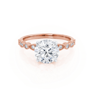 HOPE - Round Moissanite Two Tone 18k Rose Gold & Platinum Shoulder Set Ring Engagement Ring Lily Arkwright