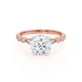 HOPE - Round Moissanite 18k Two Tone Rose Gold Shoulder Set Ring Engagement Ring Lily Arkwright