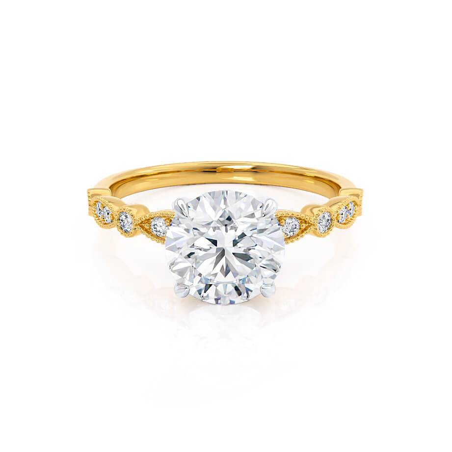 HOPE - Round Moissanite 18k Two Tone Yellow Gold Shoulder Set Ring Engagement Ring Lily Arkwright