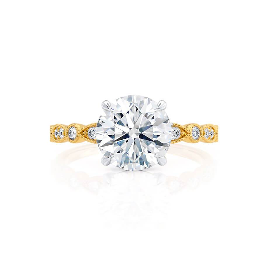 Lily Arkwright Engagement Ring HOPE - Moissanite Two Tone 18k Yellow Gold & Platinum Shoulder Set Ring