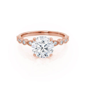 HOPE - Moissanite 18k Rose Gold Shoulder Set Ring