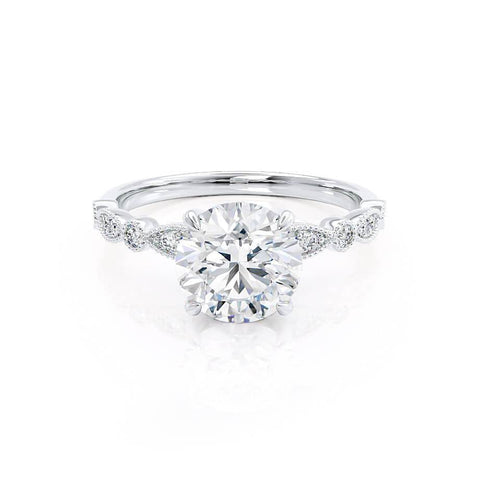 HOPE - Round Moissanite 18k White Gold Shoulder Set Ring Engagement Ring Lily Arkwright