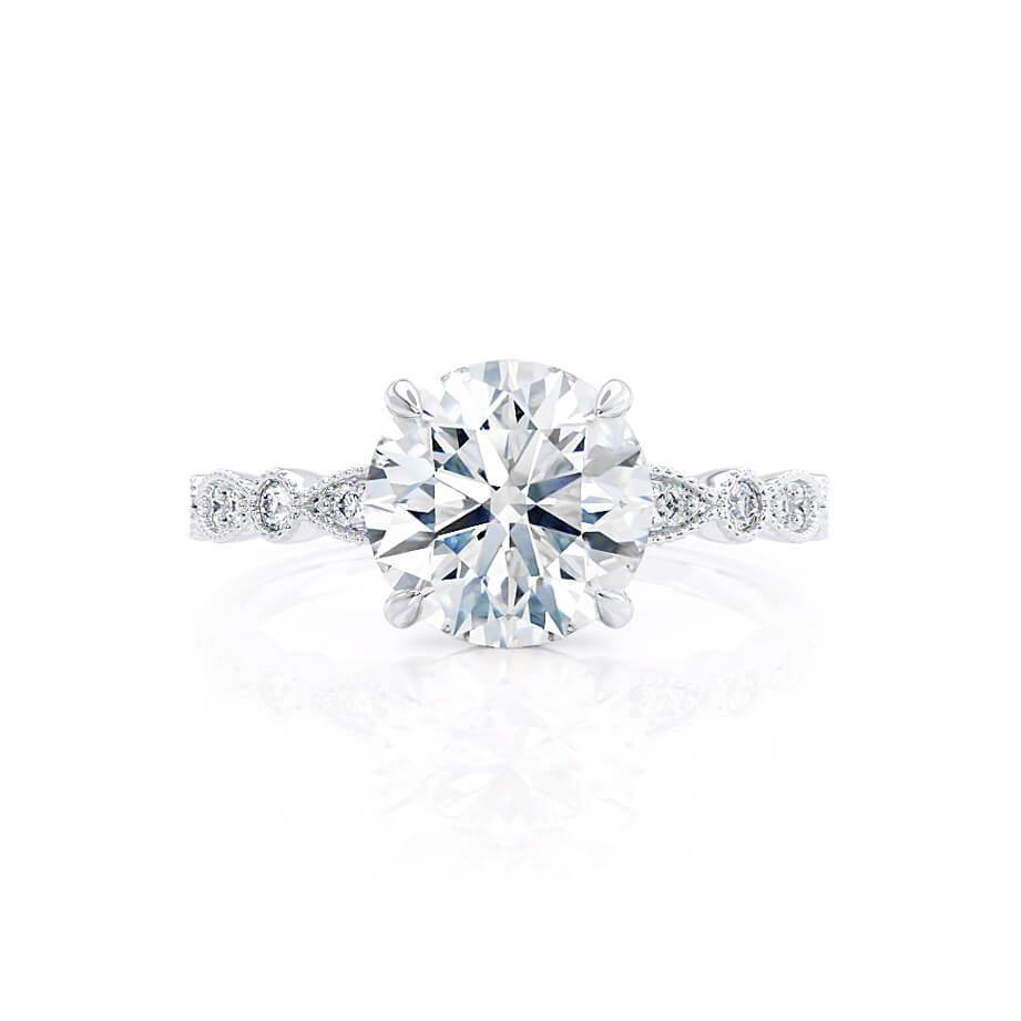 HOPE - Moissanite 18k White Gold Shoulder Set Ring