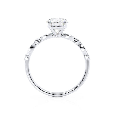 Lily Arkwright Engagement Ring HOPE - Moissanite 18k White Gold Shoulder Set Ring