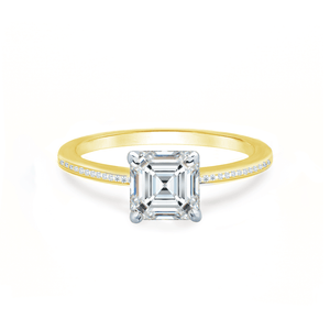 IRIS - Asscher Charles & Colvard Moissanite Platinum & 18k Yellow Gold Petite Channel Shoulder Set