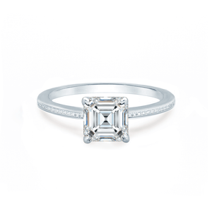 Iris Asscher Charles & Colvard Moissanite 18k White Gold Petite Channel Set