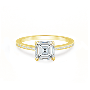 Iris Asscher Charles & Colvard Moissanite 18k Yellow Gold Petite Channel Set
