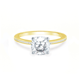 IRIS - Cushion Charles & Colvard Moissanite Two Tone Platinum & 18k Yellow Gold Petite Channel Set