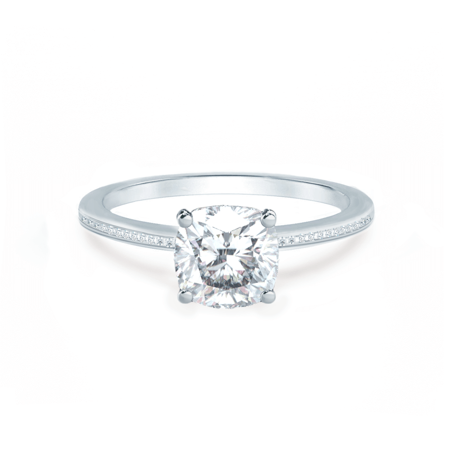 Lily Arkwright Engagement Ring IRIS - Cushion Charles & Colvard Moissanite Platinum Petite Channel Set